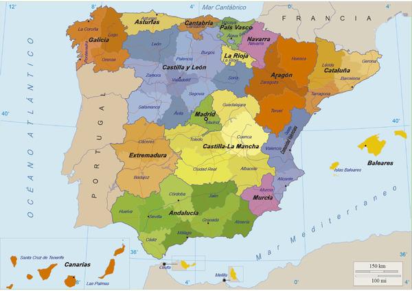Mapa España Comunidades Autonomas Blanco Y Negro.Mapas Didacticos De Espana Mapasenpdf Com